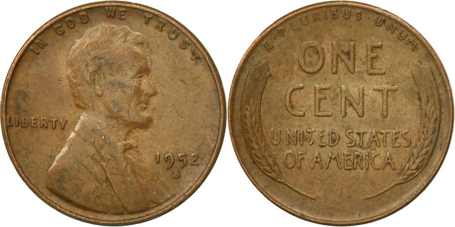 US Coins - Coin, United States, Lincoln Cent, Cent, 1952, U.S. Mint, San Francisco