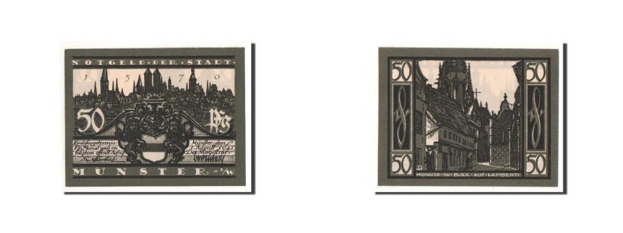World Coins - Germany, Münster, 50 Pfennig, Eglise, 1921, 1921-08-01, UNC(65-70), Mehl:916.1