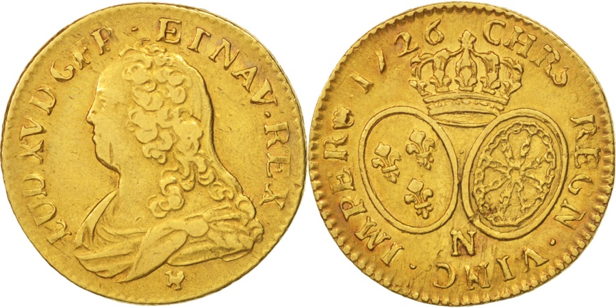 World Coins - France, Louis XV, Louis d'or aux lunettes, 1726, Montpellier, KM:489.14