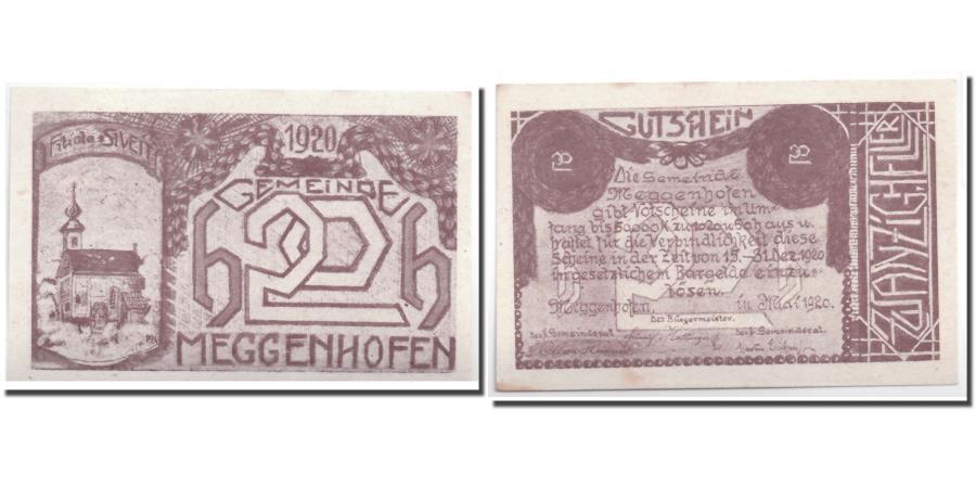 World Coins - Banknote, Austria, Meggenhofen, 20 Heller, Eglise, 1920, UNC(63), Mehl:603 Ia