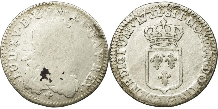 World Coins - Coin, France, 1/6 Ecu, 1722, Lille, VG(8-10), Silver, Gadoury:297