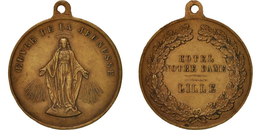 World Coins - France, Ville de Lille, Oeuvre de la jeunesse, Religions & beliefs, Medal