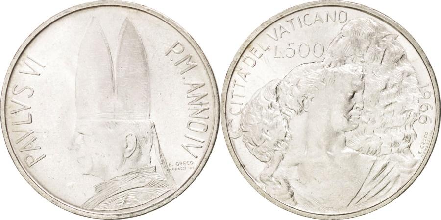 World Coins - VATICAN CITY, 500 Lire, 1966, KM #91, , Silver, 29.3, 10.98