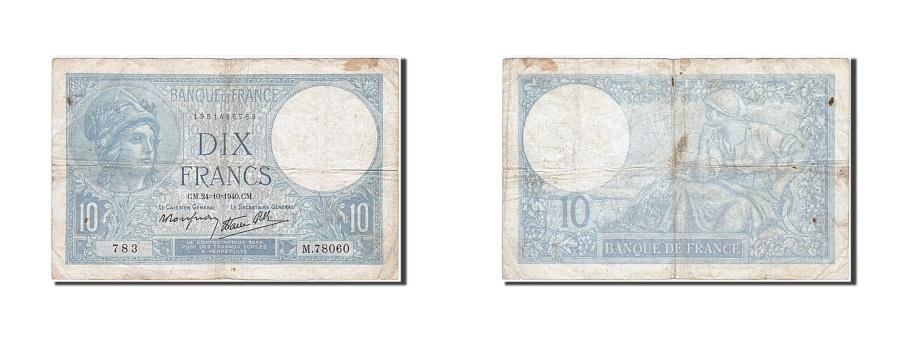 World Coins - France, 10 Francs, 10 F 1916-1942 ''Minerve'', 1940, KM #84, 1940-10-24,...