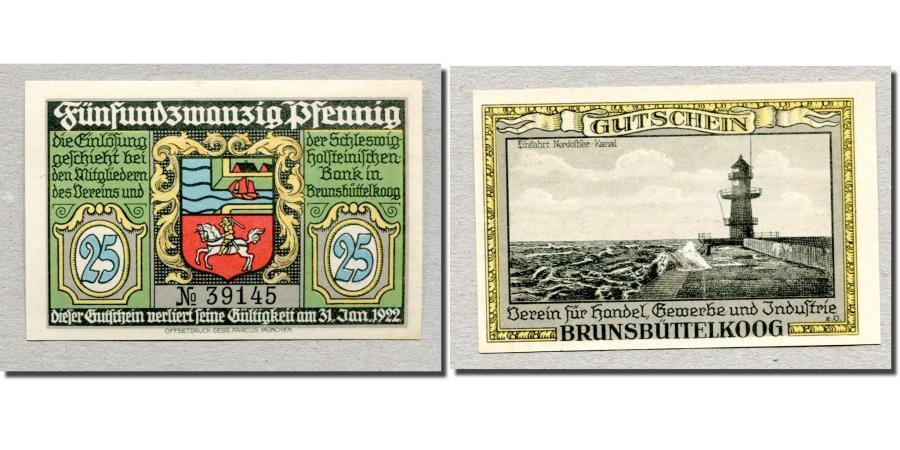 World Coins - Banknote, Germany, Brunsbüttelkoog, 25 Pfennig, Phare 1, 1922, 1922-01-31