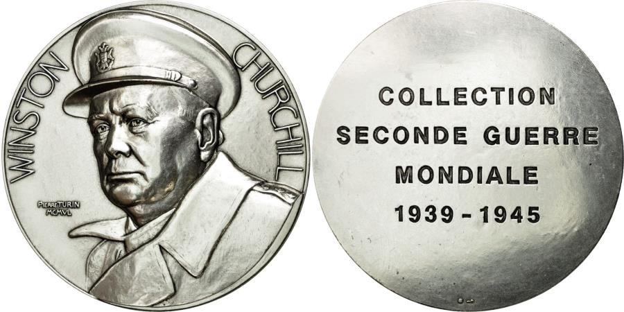 World Coins - France, Medal, Collection Seconde Guerre Mondiale, Winston Churchill, Turin