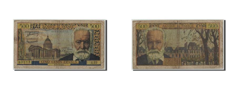 World Coins - France, 500 Francs Victor Hugo, 1954-03-04, KM:133a, Fayette:35.2, VG(8-10)