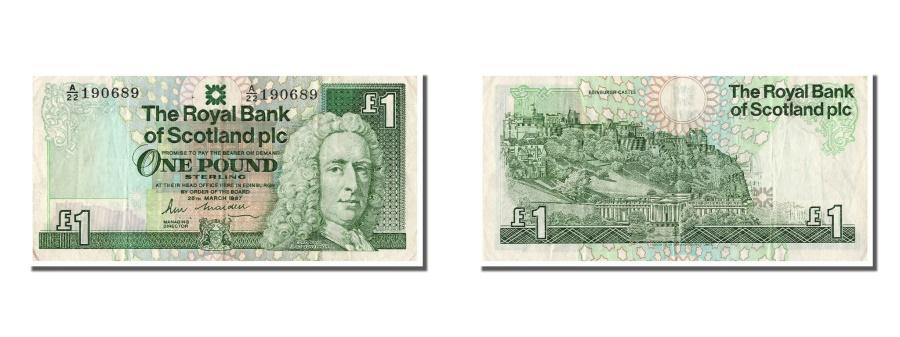 World Coins - Scotland, 1 Pound, 1987, KM #346a, 1987-03-25, AU(50-53), A/22 190689