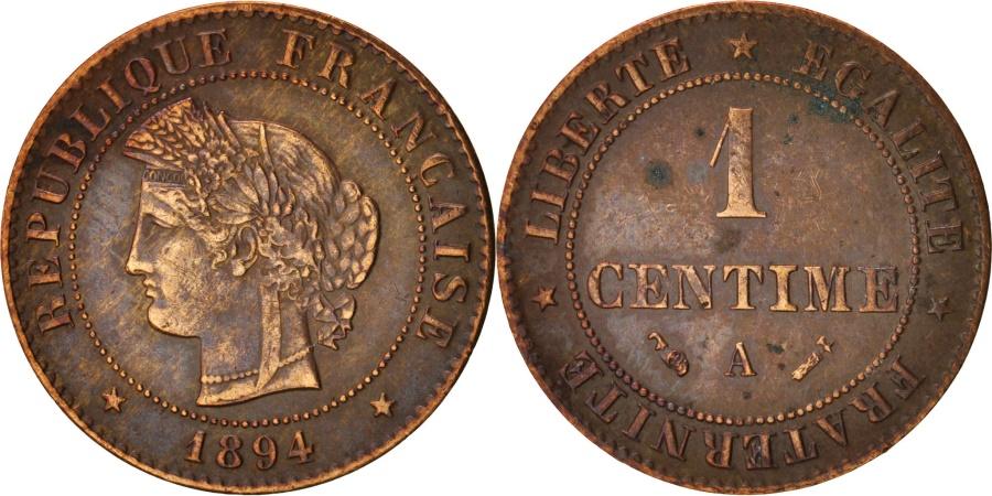 World Coins - France, Cérès, Centime, 1894, Paris, , Bronze, KM:826.1, Gadoury:88