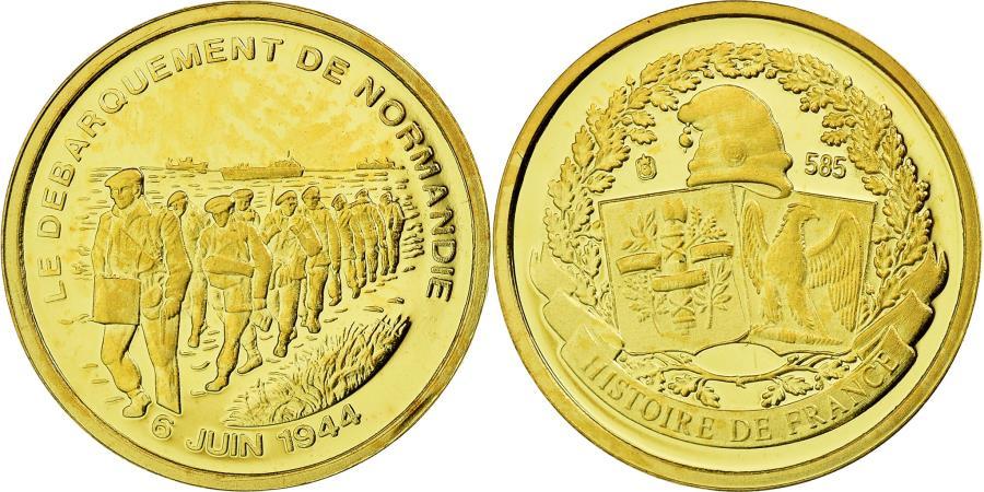 World Coins - France, Medal, Le débarquement de Normandie, History, , Gold
