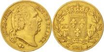 France, Louis XVIII, 20 Francs, 1819, Paris, VF(30-35), Gold, KM 712.1