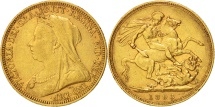 World Coins - Australia, Victoria, Sovereign, 1893, Sydney, EF(40-45), Gold, KM:13