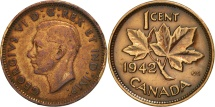 World Coins - Canada, George VI, Cent, 1942, Royal Canadian Mint,Ottawa,EF(40-45),Bronze,KM 32