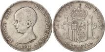 Spain, Alfonso XIII, 5 Pesetas, 1891, Madrid, VF(30-35), Silver, KM:689