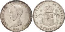 Spain, Alfonso XIII, 5 Pesetas, 1890, Madrid, AU(50-53), Silver, KM:689