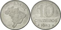 World Coins - Brazil, 10 Cruzeiros, 1983, AU(50-53), Stainless Steel, KM:592.1