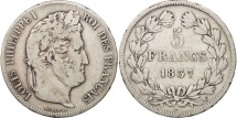 France, Louis-Philippe, 5 Francs, 1837, Lille, VF(20-25), Silver, KM:749.13