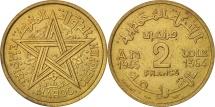 Morocco, Mohammed V, 2 Francs, 1945, Paris, AU(50-53), Aluminum-Bronze, KM:42