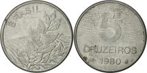World Coins - Brazil, 5 Cruzeiros, 1980, EF(40-45), Stainless Steel, KM:591