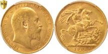 World Coins - Great Britain, Edward VII, Sovereign, 1909, PCGS, MS62, Gold, KM:805