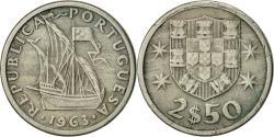 World Coins - Portugal, 2-1/2 Escudos, 1963, , Copper-nickel, KM:590