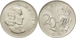 World Coins - SOUTH AFRICA, 20 Cents, 1965, KM #69.1, , Nickel, 24.2, 6.00