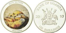 World Coins - Coin, Uganda, Man eaters, 100 Shillings, 2010, , silver  plated steel