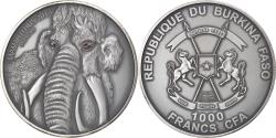 World Coins - Coin, Burkina Faso, Mammuthus, 1000 Francs CFA, 1 Silver Oz, 2015,