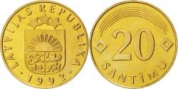 World Coins - LATVIA, 20 Santimu, 1992, KM #22.1, , Nickel-Brass, 21.5, 4.05