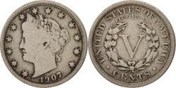 Us Coins - United States, Liberty Nickel, 5 Cents, 1907, U.S. Mint, Philadelphia
