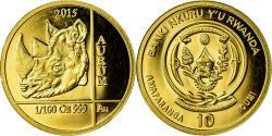 World Coins - Coin, Rwanda, Rhinocéros, 10 Francs, 2015, , Gold