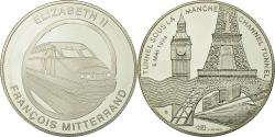 World Coins - France, Medal, Tunnel sous la Manche - Elizabeth II, Mitterrand, 1994