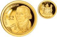 World Coins - Coin, Fiji, Elizabeth II, George Washington, 2 Dollars, 2014, , Gold