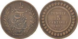 World Coins - TUNISIA, 5 Centimes, 1891, Paris, KM #221, , Bronze, 4.88