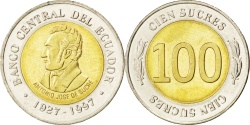 World Coins - ECUADOR, 100 Sucres, 1997, KM #101, , Bi-Metallic, 19.9, 3.61