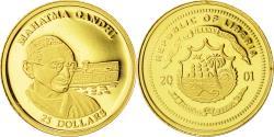 World Coins - Liberia, 25 Dollars, Mahatma Gandhi, 2001, MS(65-70), Gold