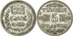 World Coins - Coin, Tunisia, Ahmad Pasha Bey, 5 Francs, 1934, Paris, AU(50-53), Silver, KM:261