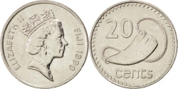 World Coins - FIJI, 20 Cents, 1990, KM #53a, , Nickel Plated Steel, 28.5, 10.48