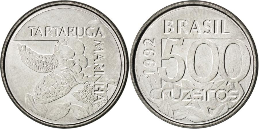 World Coins - BRAZIL, 500 Cruzeiros, 1992, KM #624, , Stainless Steel, 19, 2.62