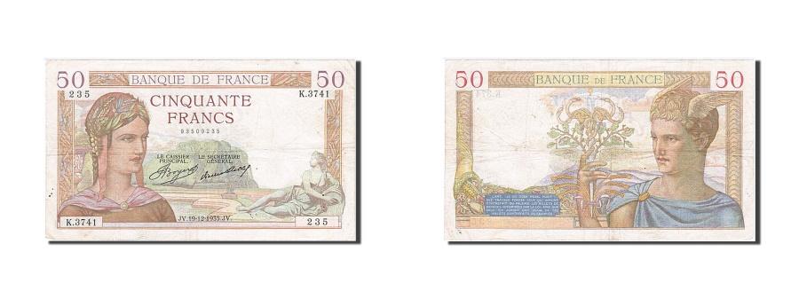 World Coins - France, 50 Francs, 50 F 1934-1940 ''Cérès'', 1935, KM #85a, 1935-12-19, V...
