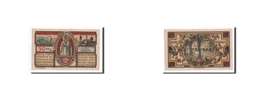 World Coins - Germany, Rosenheim, 50 Pfennig, Monument 1, 1921-02-16, UNC(65-70), Mehl:1134.2
