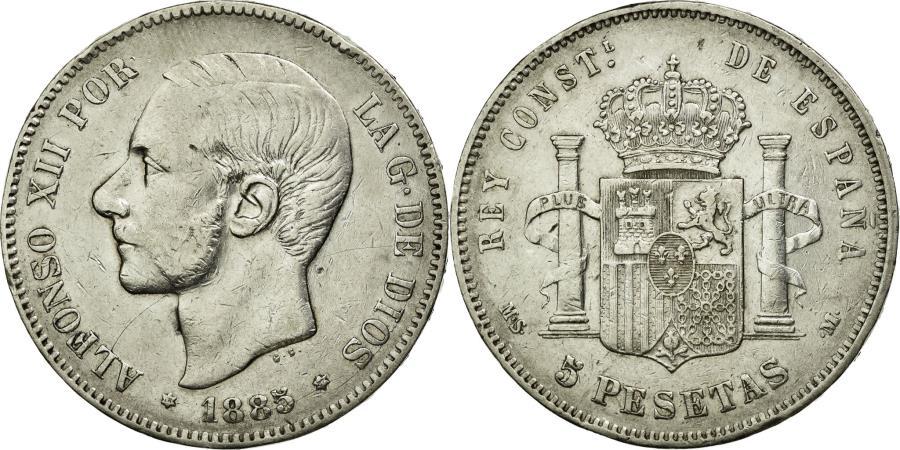 World Coins - Coin, Spain, Alfonso XII, 5 Pesetas, 1885, EF(40-45), Silver, KM:688