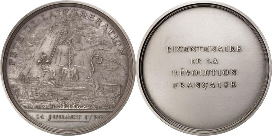 World Coins - FRANCE, History, French Fifth Republic, Medal, 1989, , Corbin, Bronze,.