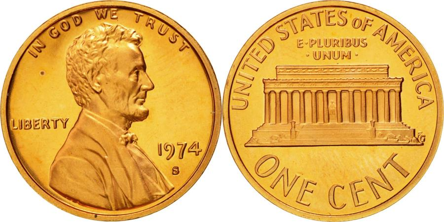 US Coins - Coin, United States, Lincoln Cent, Cent, 1974, U.S. Mint, San Francisco,