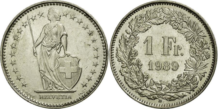World Coins - Coin, Switzerland, Franc, 1989, Bern, AU(55-58), Copper-nickel, KM:24a.3