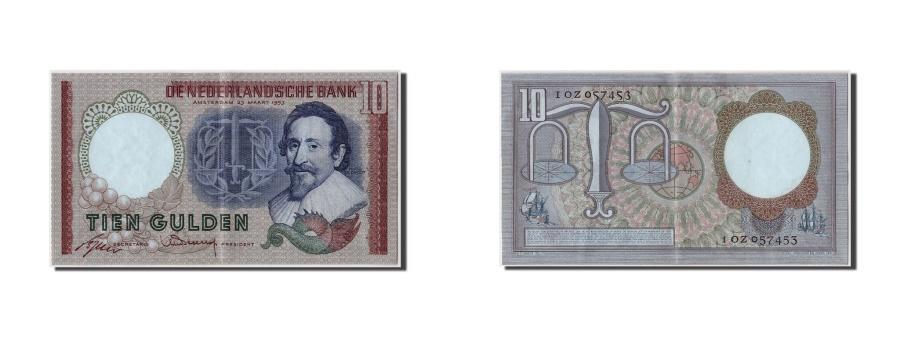 World Coins - Netherlands, 10 Gulden, 1953, KM #85, 1953-03-23, AU(55-58), 1OZ057453