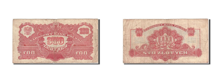 World Coins - Poland, 100 Zlotych, 1944, 1944, KM:117a, VG(8-10)