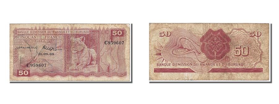 World Coins - Rwanda-Burundi, 50 Francs, 1960, KM #4a, 1960-09-15, EF(40-45), C
