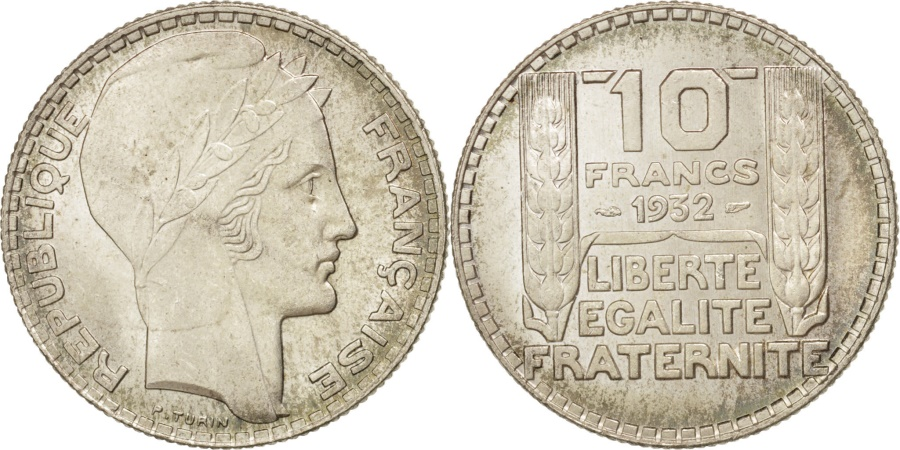 World Coins - France, Turin, 10 Francs, 1932, Paris, , Silver, KM:878, Gadoury:801