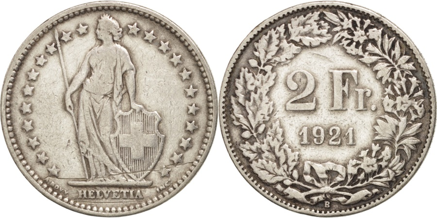 World Coins - Switzerland, 2 Francs, 1921, Bern, , Silver, KM:21